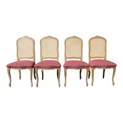 Set of Four Vintage French Provincial Cane Back Pink Dining Chairs