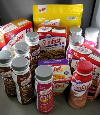 Collection of Slim Fast meal replacement shakes, bars, etc