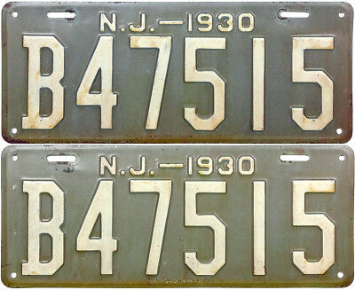 1930 NEW JERSEY license plate PAIR (GIBBY VERY GOOD)