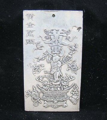 Collectable Handmade Carved Statue Tibet Silver Amulet Pendant