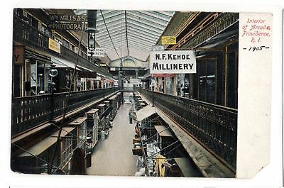 Interior of Arcade Providence Rhode Island Stores antique UDB postcard 1905