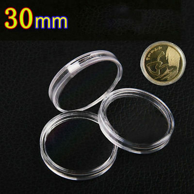 10Pcs 30mm Applied Clear Round Cases Coin Storage Boxes Capsules Holder 2018