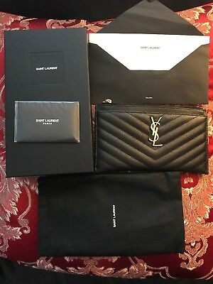 5a91dd5eb80 NEW Yves Saint Laurent (YSL) Monogram Leather Bill Pouch Clutch Wallet Gold  HW