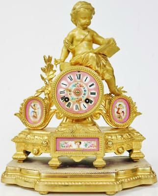 Antique French 8 Day Gilt Metal & 4 Pink Sevres Porcelain Figural Mantle Clock