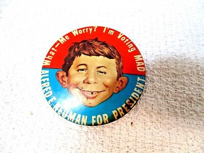 Alfred E. Neuman For President What Me Worry?  I'm Voting MAD PIinback Button