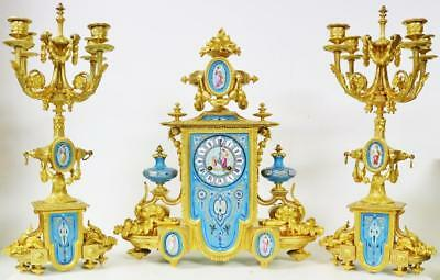 Rare Antique French Bronze Ormolu & Exquisite Sevres Porcelain Mantle Clock Set
