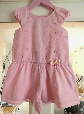 Girls Summer Shorts Playsuit Pink Embroidered 100% cotton Age 4-5 years Designer