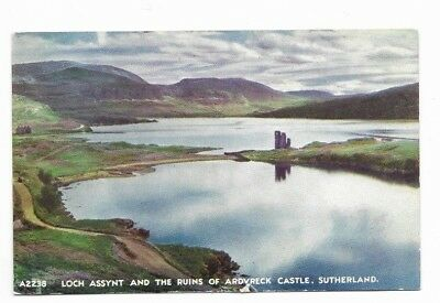 Loch Assynt & Ruins of Ardvreck Castle : posted 1954 : Best of All Series card