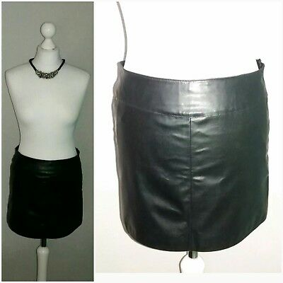 New look Black PVC Mini Skirt UK 10 party club Christmas out smart fetish rock