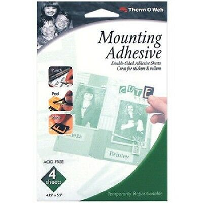 "Therm-o-Web Mounting Adhesive #3820 Acid Free 4 Sheets 4.25x5.5"" 000943038207"