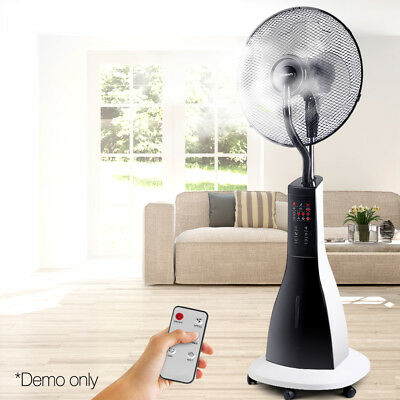 Devanti Portable Misting Fan On Wheel Cool Breeze Water Mist Remote Control