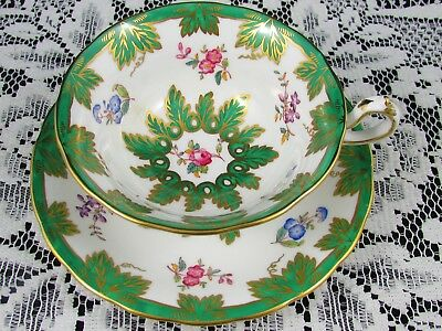 Royal Chelsea Emerald Hp Floral Gold Gilt Fancy Tea Cup And Saucer