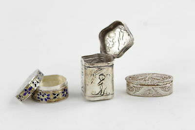 3 Vintage .925 Sterling Silver PILL BOXES inc. Inlaid, Filigree, Engraved 44g
