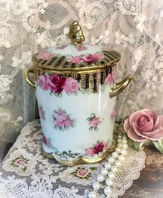 Antique 1890's Handpainted NIPPON Moriage Gilt MILK CAN HOLDER