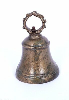 Nice Antique Indian Handcrafted High Aged Brass ritual Bell, Good Sound. i9-1 US