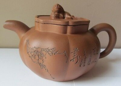 Antique CHINESE Clay TEAPOT Early Mid 20th Century LION Finial LID REPAIR