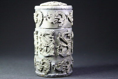 Collectable Handwork Miao Silver Carve Dragon & Phoenix Exquisite Toothpick Box