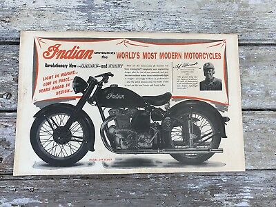 Antique Indian Scout Motorcycle sign poster. Mid 1940s age original