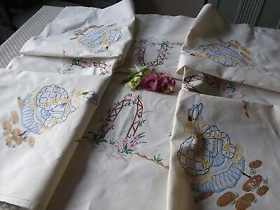 VINTAGE HAND EMBROIDERED TABLECLOTH/  LOVELY  CRINOLINE LADIES & GARDENS 50x52''