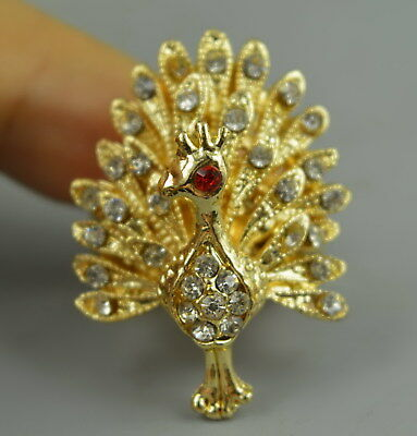 Decor Collectible Brass Inlay Zircon Carve Peacock Shape Delicate Adjust Ring