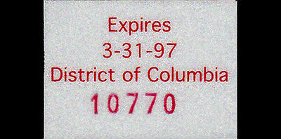 1996 INAUGURAL license plate DATE STICKER (GIBBY NOS)