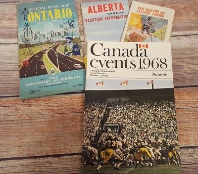 Vintage Lot of 4 Alberta Canada New England Eastern Canada Road Maps 1960`s