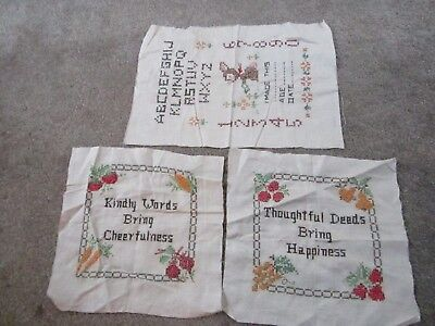 1950s vintage cross stitched new but never framed three (3) samplers