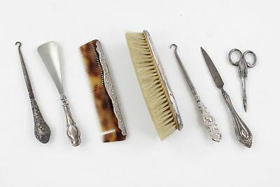 7 x Vintage Hallmarked Solid Silver Assorted Ladies Vanity Inc. Brush, Comb 230g
