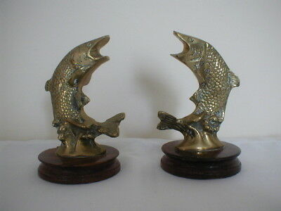 vintage pair of brass leaping salmon figures