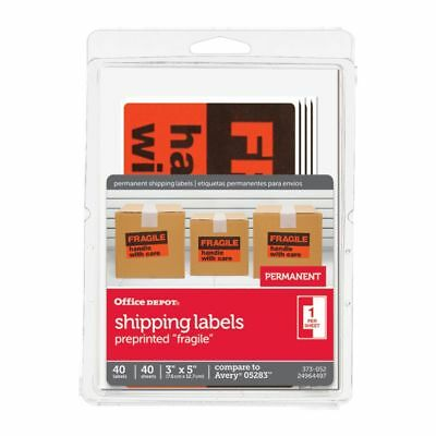 Office Depot Preprinted Permanent Shipping Labels, Pack Of 40, OD98804