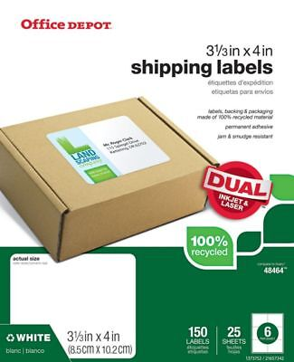 """Office Depot Brand 3 3/8"""" x 4"""" Mailing Labels, White, 150-Pk"""