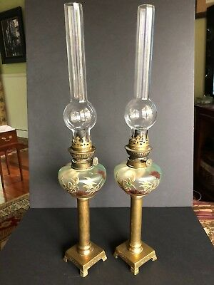Charming Pair of ANTIQUE SIGNED KOSMOS BRENNER PEG OIL LAMPS  PAINTED