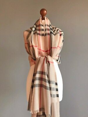 Burberry Camel Lightweight Check Wool Silk Scarf Wrap 100% Authentic