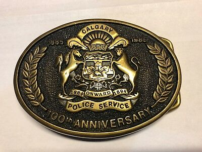 100th ANNIVERSARY CALGARY POLICE SERVICE 1885-1985 BRASS BUCKLE - HARD TO FIND!