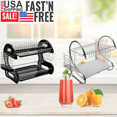 2 Tier Kitchen Dish Cup Drying Rack Drainer Dryer Tray Cultery Holder Organizer