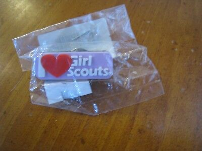 NEW! I love (heart) Girl Scouts rubber pin