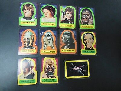 1977 Topps Star Wars Series 1 Sticker Card Set 1-11 Leia Vader Han Luke r2d2