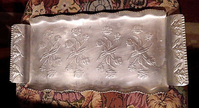 Aluminum Tray Engraved Roses Hammered Fluted Vintage With Handles Circa 1950's