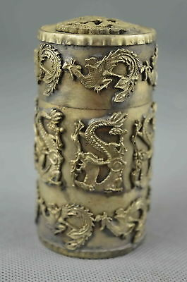 Collection Chinese Style Miao Silver Carve Dragon Phoenix Exorcism Toothpick Box