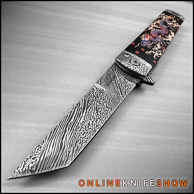 Spring Folding Pocket Knife Katana Tanto Japanese Damascus Black Assisted Open