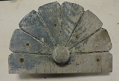 Antique Architectural Salvage Blue Paint Flower Fan Cookie Ornament, Old, (VE)