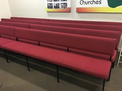 Long Pews/Bench/chairs. $100 each, red in color, some slightly worn fabric