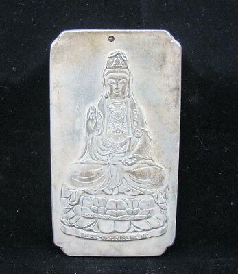 Collectable Handmade Carved Statue Tibet Silver Amulet Pendant Kwan-yin