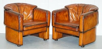 Pair Of Fully Resorted Hand Dyed Whisky Brown Leather Club Tub Armchairs Shell
