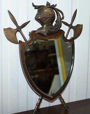 Lovely Antique Solid Wood Mirror With Bronze Mounts & Chain Knights Armour