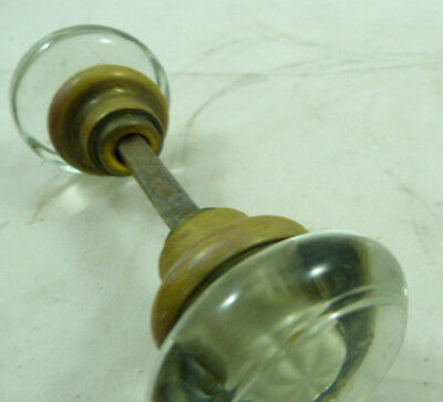 Vintage Crystal Clear Glass Round Door Handle Double Knob Rod Set