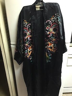 Vintage Plum Blossom Chinese Silk Embroidered Floral Bird Coat Robe 1860-1960 M