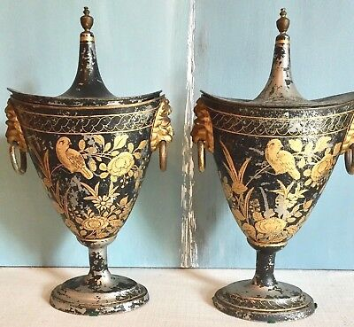 Pair Of Antique 18th Century Chestnut Urns With Lions Handle Antique Toleware