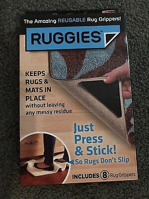 New Ruggies Set Of 8 Rug Grippers As Seen On Tv Washable Reusable