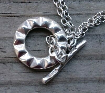 """925 sterling silver double chain necklace Toggle closer stamped 17"""""""